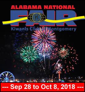 September 28 to October 8, 2018 – ALABAMA NATIONAL FAIR